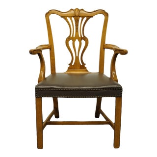 Late 20th Century Vintage Traditional Chippendale Style Splat Back Arm Chair For Sale
