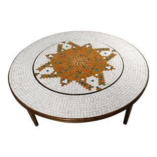Mid Century Modern Round Mosaic Tile Coffee Table For Sale