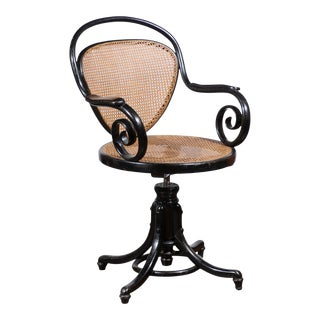 French Ebonized with Cane Seat Bentwood Desk Chair For Sale