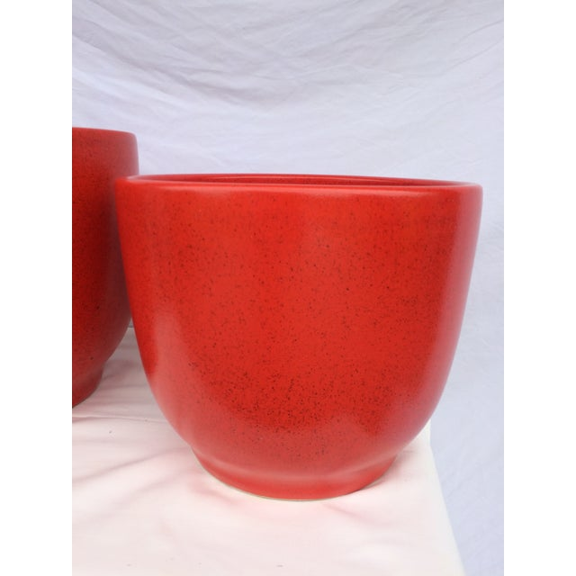 Rare pair or red / orange Gainey Ceramics huge architectural pottery piece with a vibrant orange speckled glaze. These...