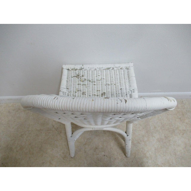 Off-white Antique Wicker Outdoor Patio Chair For Sale - Image 8 of 11