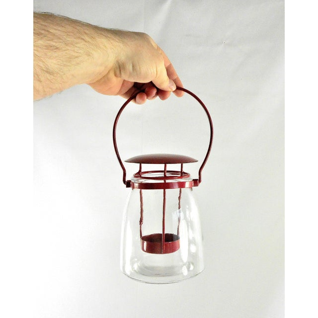 Boho Chic Round Red Metal Clear Glass Candle Lantern For Sale - Image 4 of 6