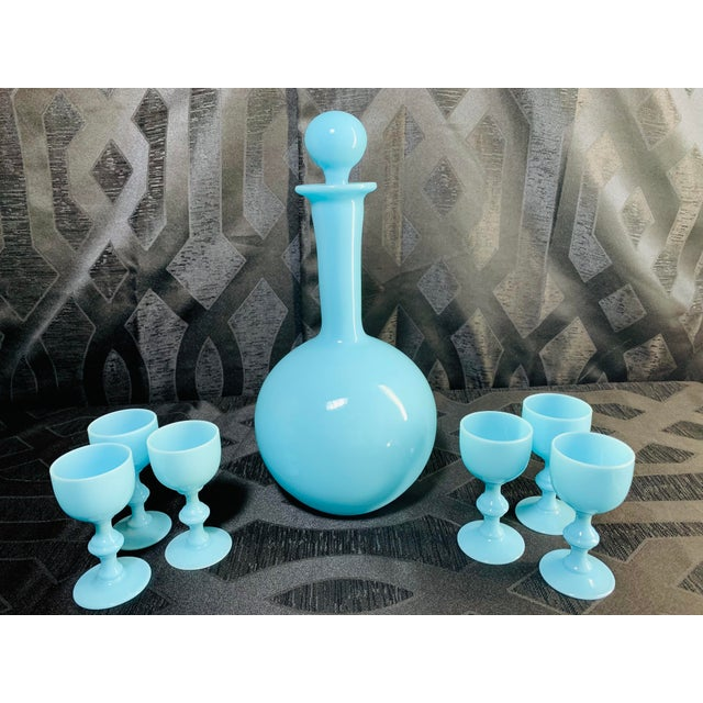 French 1930s Antique French Blue Opaline Decanter and Cordial Goblets Glassware Portieux Vallerysthal - Set of 7 For Sale - Image 3 of 13