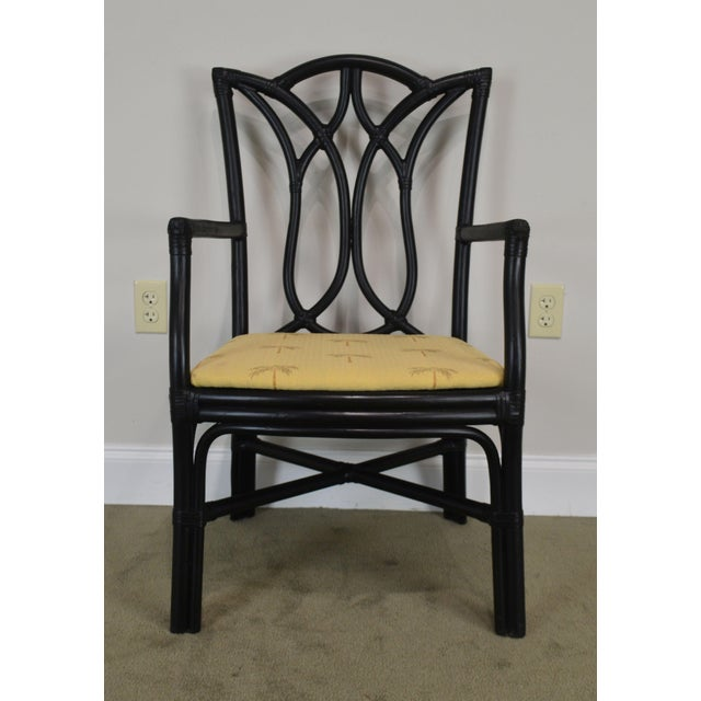 McGuire Style Set 8 Black Rattan Bamboo Dining Chairs For Sale - Image 10 of 13