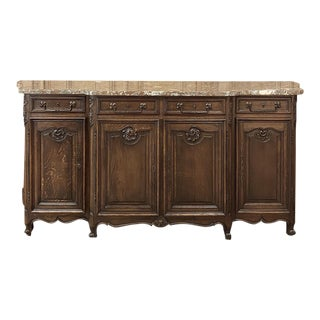 Antique Country French Step-Front Serpentine Marble Top Buffet For Sale