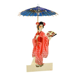 Die Cut Geishas With Parasols Place Setting Holders - Set of 6 For Sale