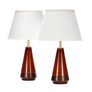 Mercer Lamp in Deep Amber With Walnut Base - a Pair For Sale