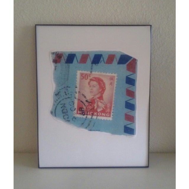 Reproduction of a stamp of Queen Elizabeth II from Hong Kong on an airmail envelope with torn edges. Printed on either 90#...