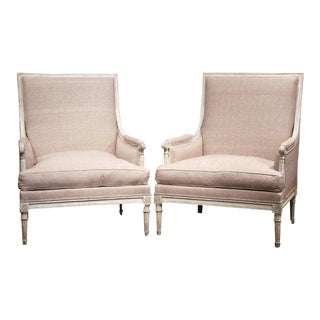 Pair of 19th Century French Louis XVI Carved Painted Armchairs With Beige Fabric For Sale