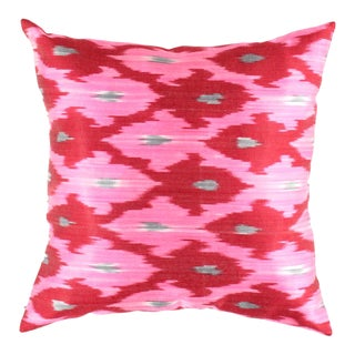 Turkish Hand Woven Silk Ikat Pillow 20'' #Ti 298 For Sale