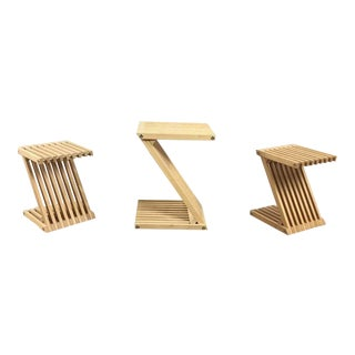 Modern Bamboo Wood Z Form Folding Stools - Set of 3