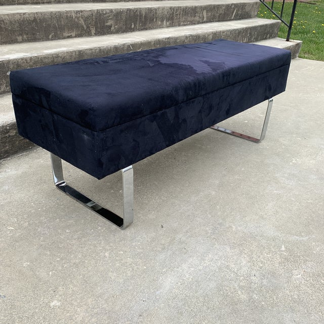 Hollywood Regency 1980s Mid Century Chrome Bench With Storage For Sale - Image 3 of 10