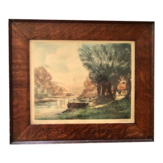 French Hand Colored Etching by Louis Charlot For Sale