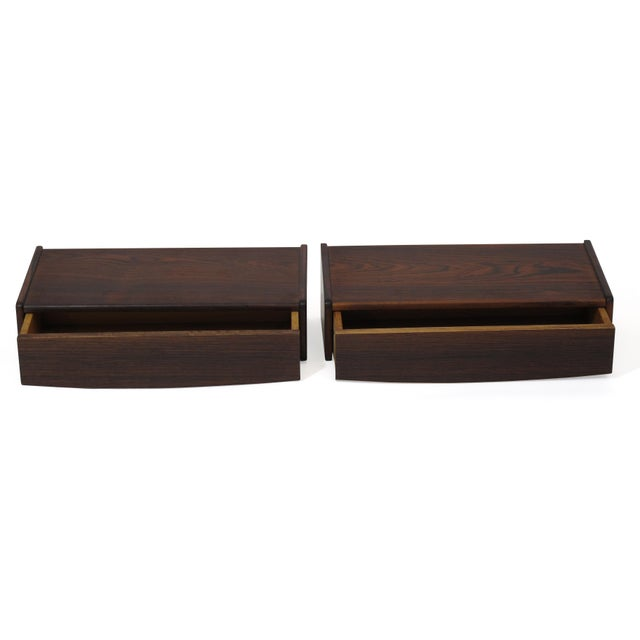 Mid 20th Century Pair of Floating Danish Rosewood Tables With Drawers For Sale - Image 5 of 9