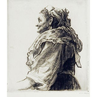 Portrait Italian Bird Woman Etching For Sale