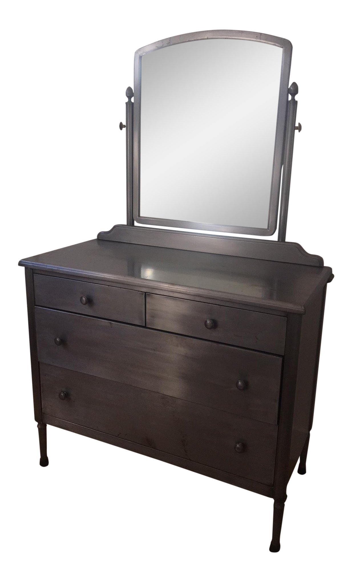 vtg 1940 50s simmons furniture metal medical. Simmons Style Distressed Industrial Metal Chest Of Drawers With Mirror Vtg 1940 50s Furniture Medical