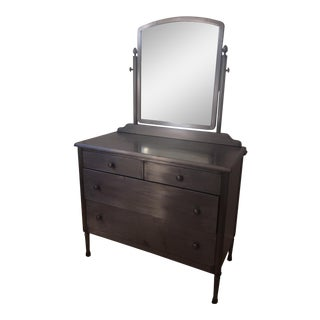 Simmons Style Distressed Industrial Metal Chest of Drawers With Mirror For Sale