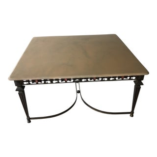 1950s Art Nouveau Moroccan in Bronze Marble Coffee Table For Sale