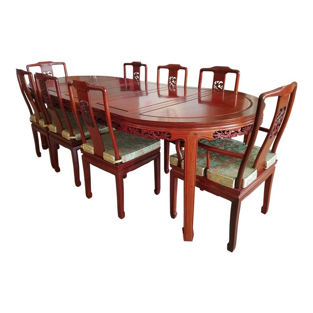 Vintage Chinese Rosewood Hand Carved Imperial Dragon Dining Table Chairs