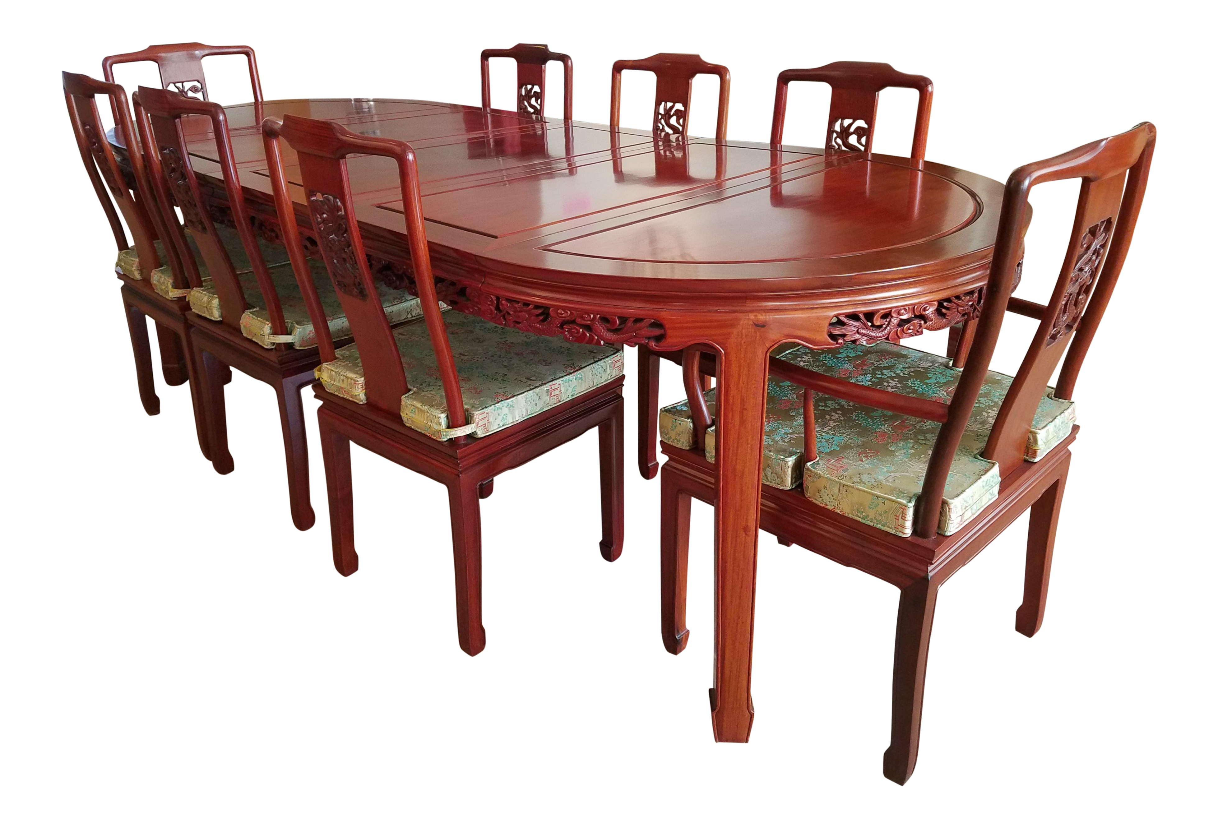 Charmant Vintage Chinese Rosewood Hand Carved Imperial Dragon Dining Table U0026 Chairs    Set Of 10 Chairs