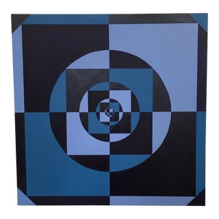 Vintage Blue Geometric Abstract Painting
