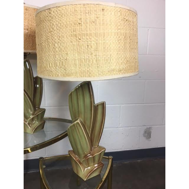 """Set of 2 Vintage Cactus Lamps With Woven Grass Lamp Shades 16"""" tall 6-1/2 widest Point 47"""" round for lamp shade . 8"""" high"""