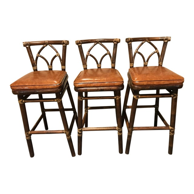 McGuire Leather Wrapped Rattan Bar Stools - Set of 3 - Image 1 of 11