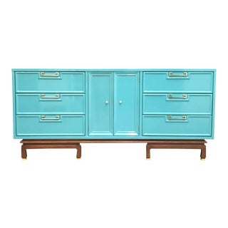 Mid Century American of Martinsville Turquoise Lacquered Credenza/Dresser For Sale