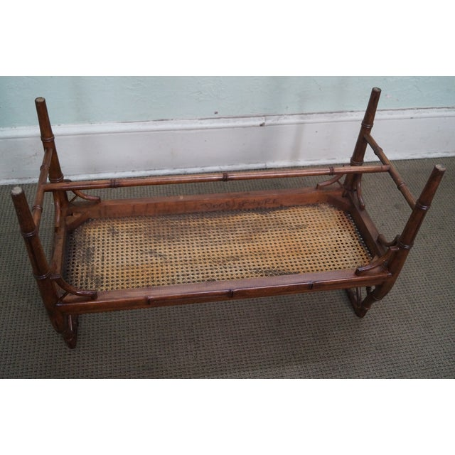 Chinese Chippendale Faux Bamboo Cane Seat Bench For Sale - Image 9 of 9