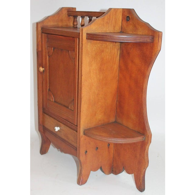 19th Century Pine Hanging Medicine Cabinet With One Drawer For Sale - Image 9 of 10