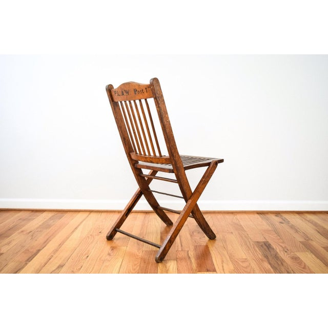 American Antique Wood Folding Theater or Deck Chair For Sale - Image 3 of 6