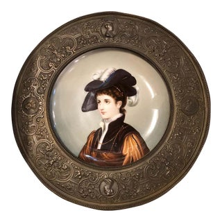 Hand Painted 19th Century Porcelain Plate Framed in a High Relief Bronze Frame For Sale