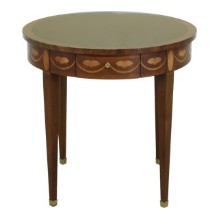 Baker Round Inlaid Mahogany Federal Style Occasional Table For Sale