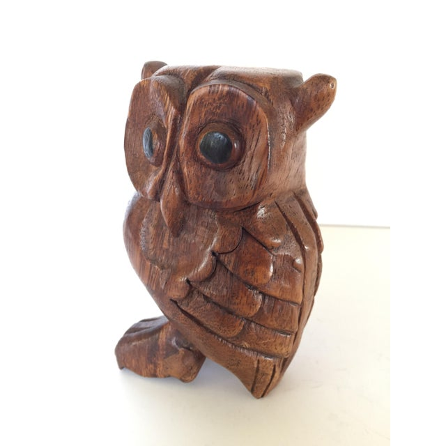 1950s Vintage Owl Whistle, Hand Carved Wood For Sale - Image 5 of 8