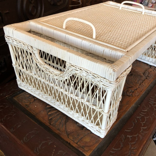 Late 20th Century Vintage White Wicker Bed Tray For Sale - Image 5 of 12