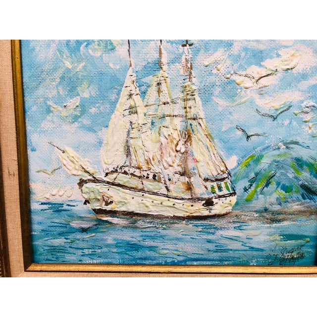 1970s Vintage Sailboat Ocean 3d Art Painting Signed in Antique Gold Frame For Sale - Image 5 of 13