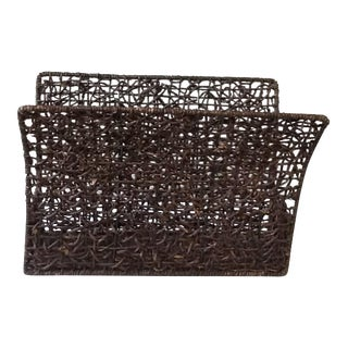 Vintage Brown Wicker Magazine Stand For Sale