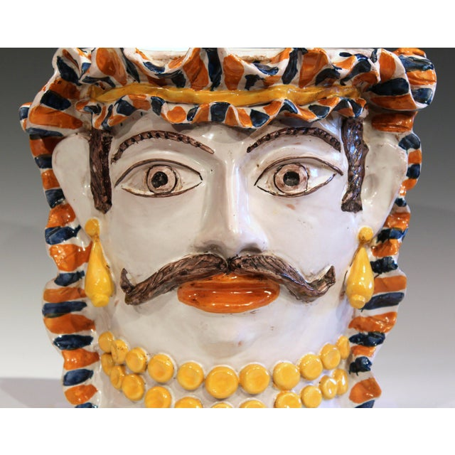 Yellow Large Italian Sicilian Pottery Head Vase For Sale - Image 8 of 11