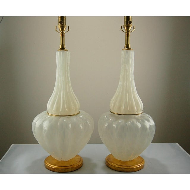 Creamy WHITE OPALINE vintage Murano glass table lamps in a quilted pattern by The Marbro Lamp Company. The Venetian glass...