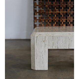 1980s Vintage Modernist Travertine Coffee Table Preview