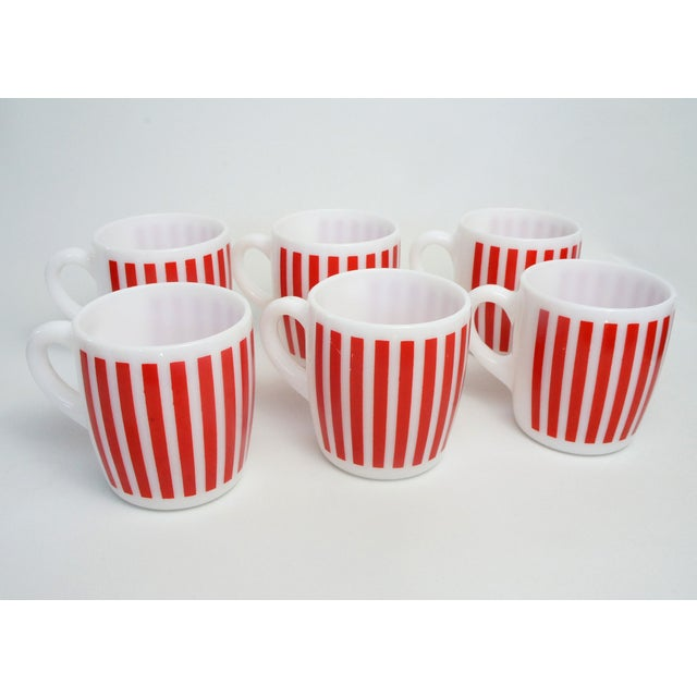 Hazel Atlas Red Striped Milk Glass Mugs – Set of 6 - Image 3 of 5