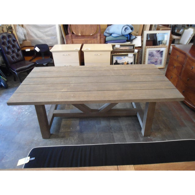 Restoration Hardware Restoration Hardware French Teak Dining Table For Sale - Image 4 of 4