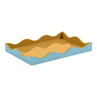 The Lacquer Company for Chairish Belle Rives Tray in Mayan Gold / Bluebird, Small For Sale