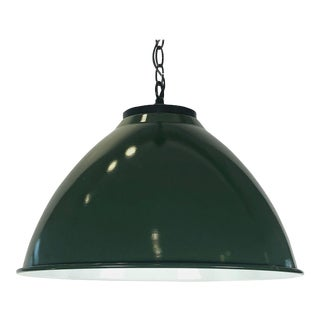 "Green Tole Industrial Hanging Lamps or Lanterns from England (18 1/4"" Diameter) For Sale"