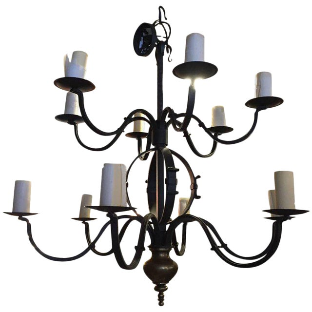 Tommy Hilfiger Wrought Iron Chandelier For Sale
