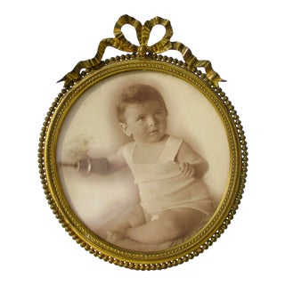 Oval Gilt Bronze Photo Frame 1920's For Sale