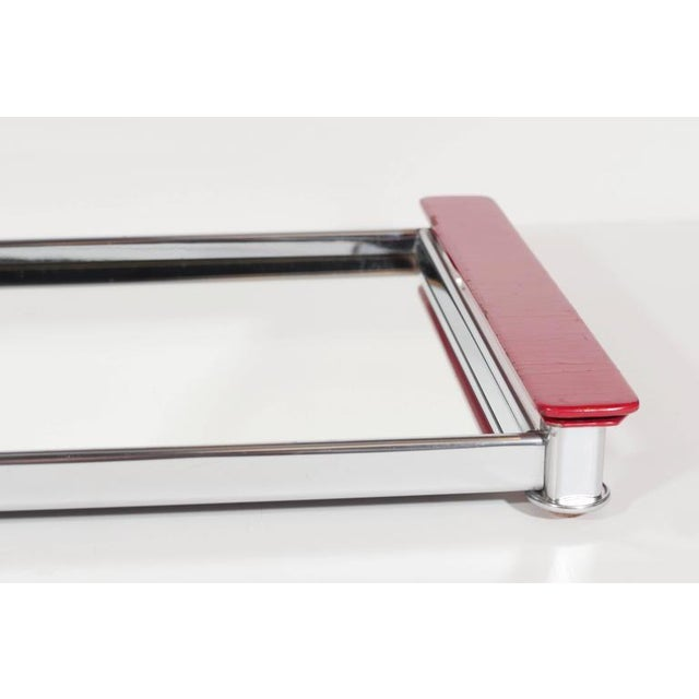 Art Deco Mirrored Bar Tray with Red Lacquered Handles For Sale - Image 4 of 11