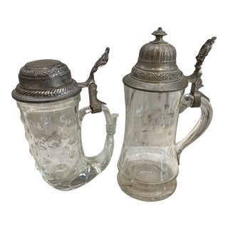 Antique Beer Glasses, Pair For Sale