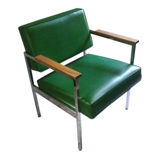 Steelcase/Knoll Style Green & Chrome Casual/Side/Office Chair