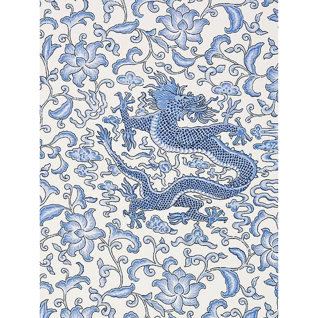 Asian Scalamandre Chi'En Dragon Linen Print, Hyacinth Blue Fabric For Sale - Image 3 of 3